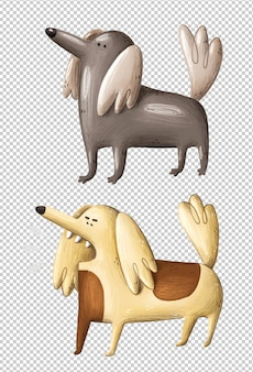 Chiens de dessin animé drôle illustration dessinée à la main