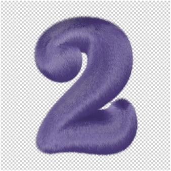 Chiffres en fourrure violette. 3d numéro 2