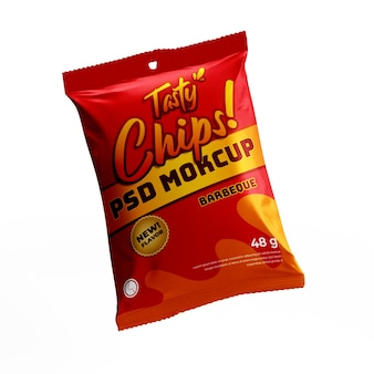 Chip snack mat doff plastique sac en plastique produit emballage alimentaire maquette volante vue de face