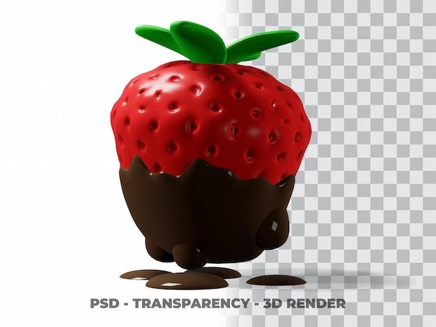 Chocolat aux fraises mignon 3d avec fond transparent