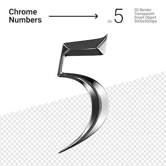 Chrome métallique numéro 5 five isolé