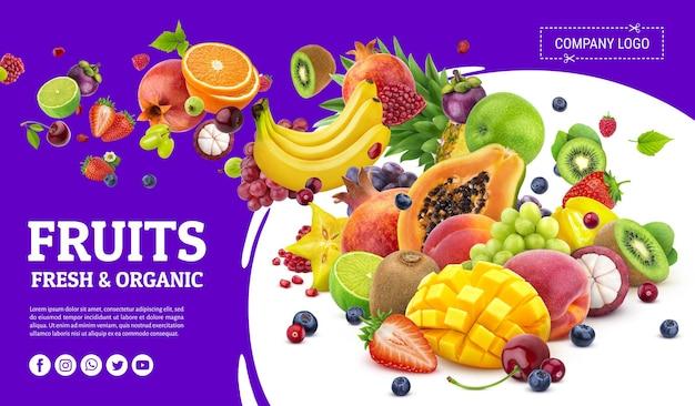 Chute de récolte de fruits exotiques isolée