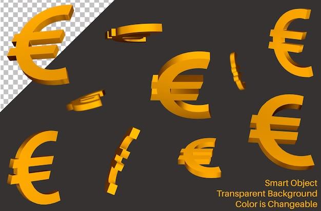 Chute de signe de la monnaie euro dans un style 3d
