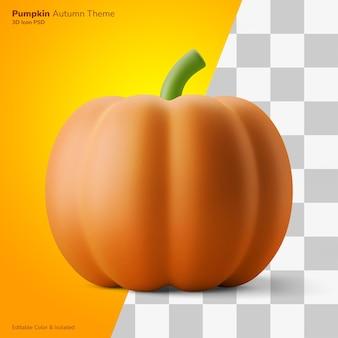 Citrouille plante automne festival symbole 3d illustration rendu icône modifiable isolé