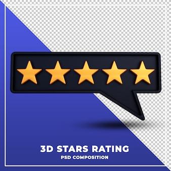 Classement des étoiles rendu de conception 3d isolé