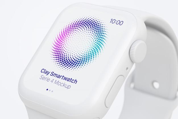 Clay smartwatch mockup, close up