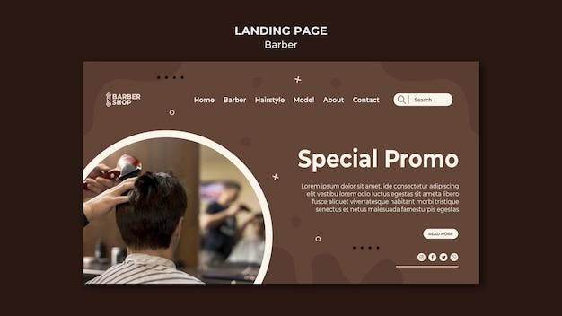 Client promo spécial sur la page de destination du salon de coiffure
