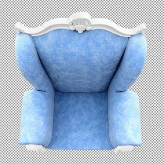 Close up canapé blanc bleu rendu vue de dessus angle isolé