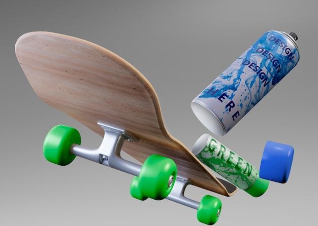 Close-up skateboard à côté de bombes aérosols