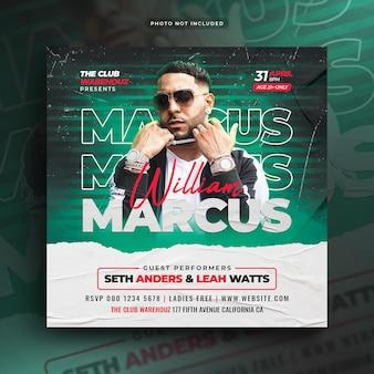Club dj party flyer bannière web de publication sur les médias sociaux