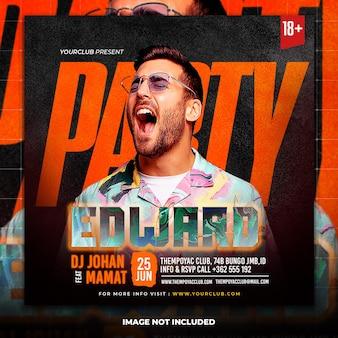 Club dj party flyer publication de médias sociaux et modèle de bannière web
