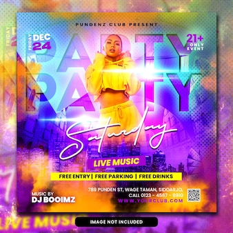 Club dj party flyer publication sur les réseaux sociaux et bannière web psd