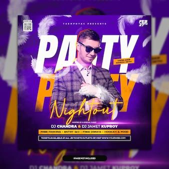 Club dj party flyer publication sur les réseaux sociaux et modèle de bannière web