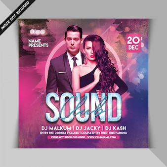 Club sound dj party flyer