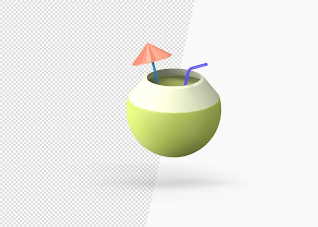 Cocktail de noix de coco d'été rendu 3d