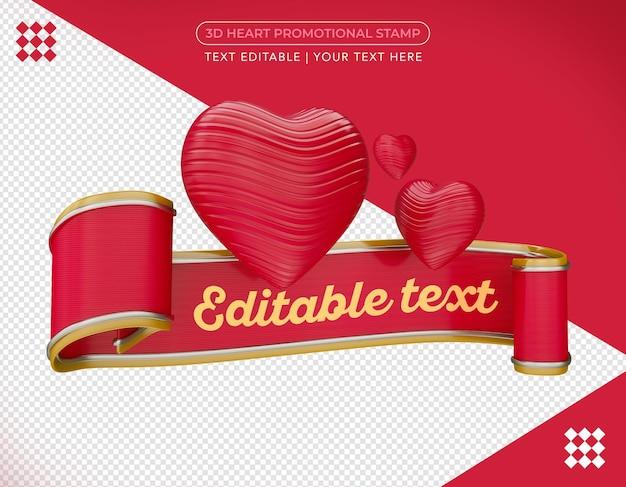 Coeur 3d promotionnel en rendu 3d isolé