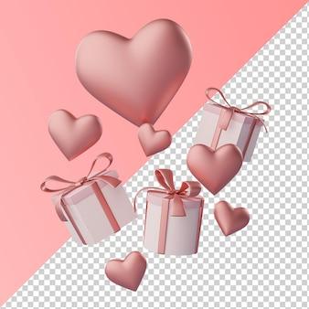 Coeur d'amour et boîte-cadeau rendu 3d transparent isolé