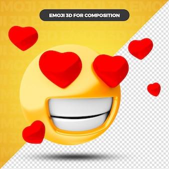 Coeur d'amour emoji rendu 3d pour la composition