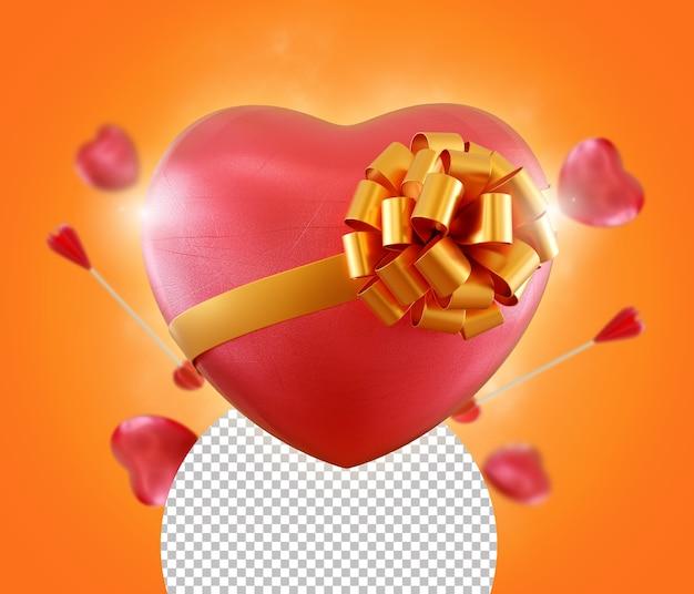 Coeur d'amour pour le rendu isolé de la saint-valentin
