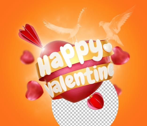 Coeur d'amour avec rendu isolé heureux saint valentin