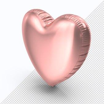 Coeur de ballon en aluminium rose valentine isolé