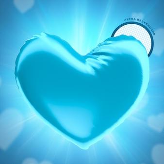 Coeur de ballon bleu fête des pères pour le rendu 3d de la composition