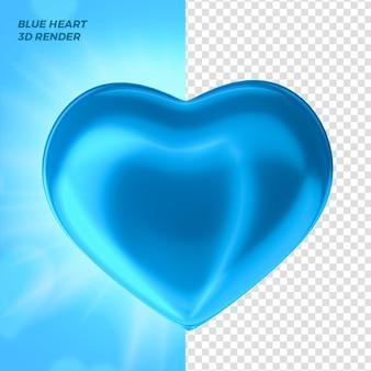 Coeur bleu de la fête des pères pour le rendu 3d de la composition
