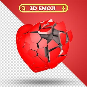 Coeur brisé rendu 3d emoji isolé