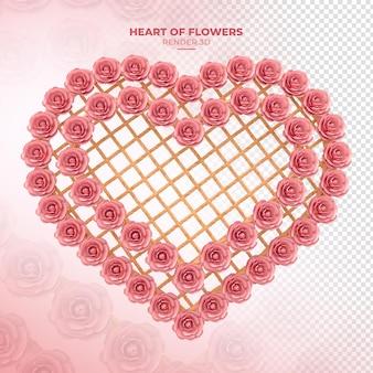 Coeur avec des fleurs et du bois avec des cordes rendu 3d rose