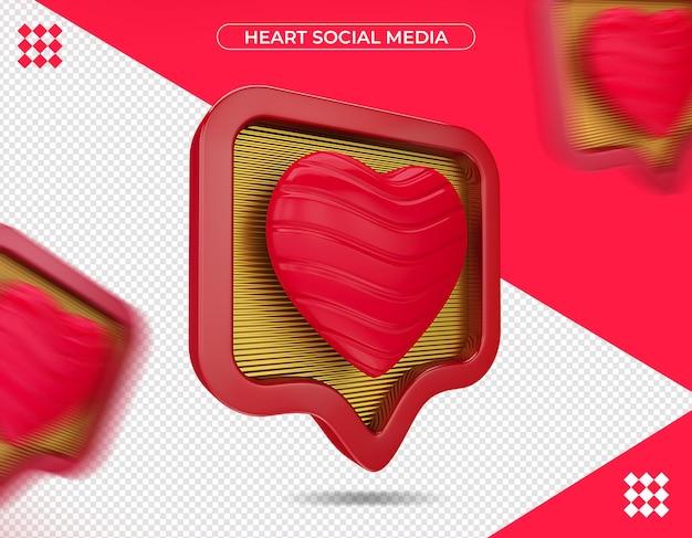 Coeur médias sociaux en rendu 3d isolé
