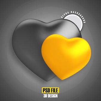 Coeur noir et or pour le rendu 3d de la composition