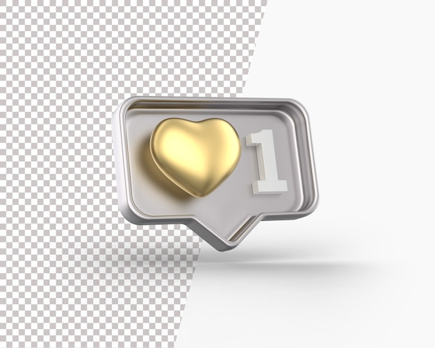 Coeur d'or 3d sur une icône de notification