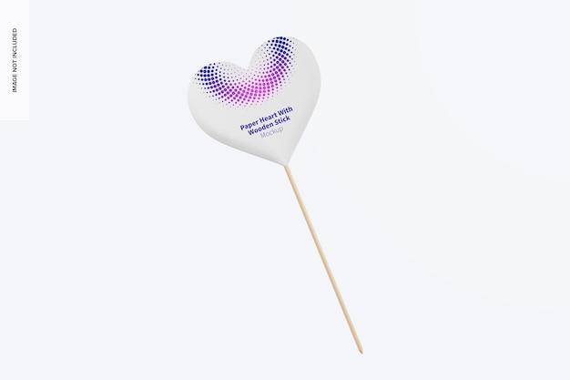 Coeur en papier avec maquette de bâton en bois