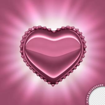 Coeur rose métallique et romantique en rendu 3d