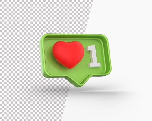 Coeur rouge 3d sur une icône de notification