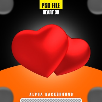 Coeur rouge pour le rendu 3d de la composition