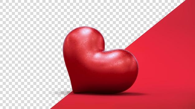 Coeur rouge saint-valentin en rendu 3d isolé