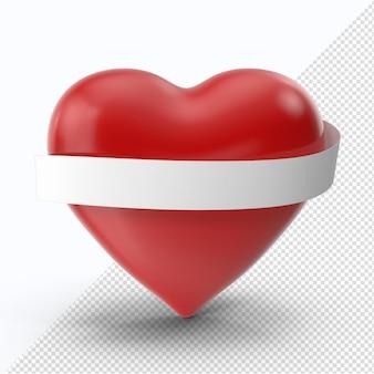 Coeur rouge saint-valentin avec ruban blanc vue de face