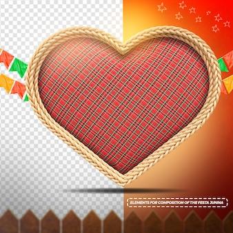 Coeur de texture rouge en tissu de rendu 3d avec des drapeaux de corde pour festa junina