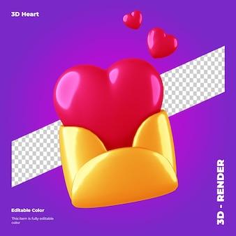 Coeur de valentine 3d dans une enveloppe