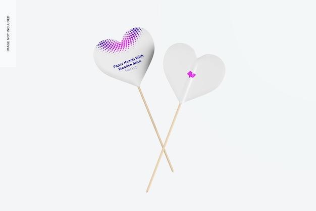 Coeurs en papier avec maquette de bâton en bois, vue avant et arrière