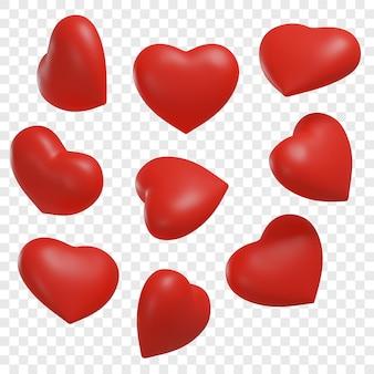 Coeurs rouges 3d présentés sous différents angles illustrations 3d isolées
