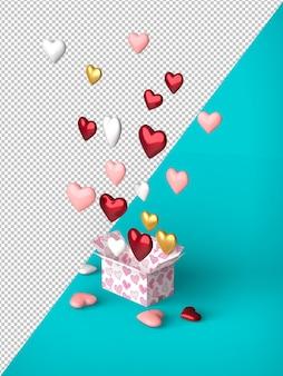 Coffret cadeau ballon ouvert coeur flottant fond personnalisable