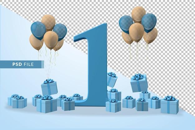 Coffret cadeau bleu numéro 1 anniversaire ballons jaunes et bleus