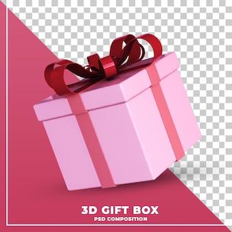 Coffret cadeau brillant rendu de conception 3d isolé