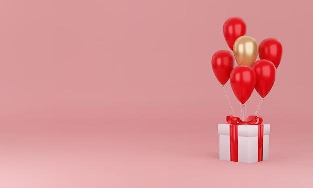 Coffret cadeau et coeur avec un concept de design minimal
