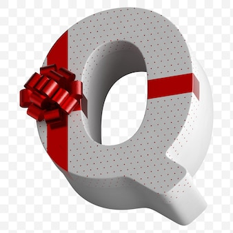 Coffret cadeau lettre alphabet enveloppé dans du papier blanc avec un arc rouge de luxe isolé sur fond blanc