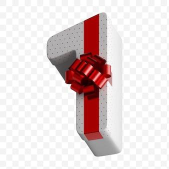 Coffret cadeau numéro alphabet enveloppé dans du papier blanc avec un arc rouge de luxe isolé sur fond blanc