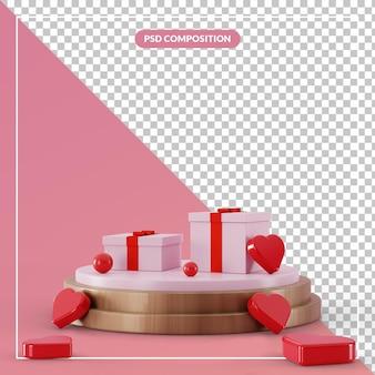 Coffret cadeau piédestal 3d avec symbole de coeur d'amour de groupe dans le rendu 3d