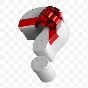 Coffret cadeau question alphabet enveloppé dans du papier blanc avec un arc rouge de luxe isolé sur fond blanc